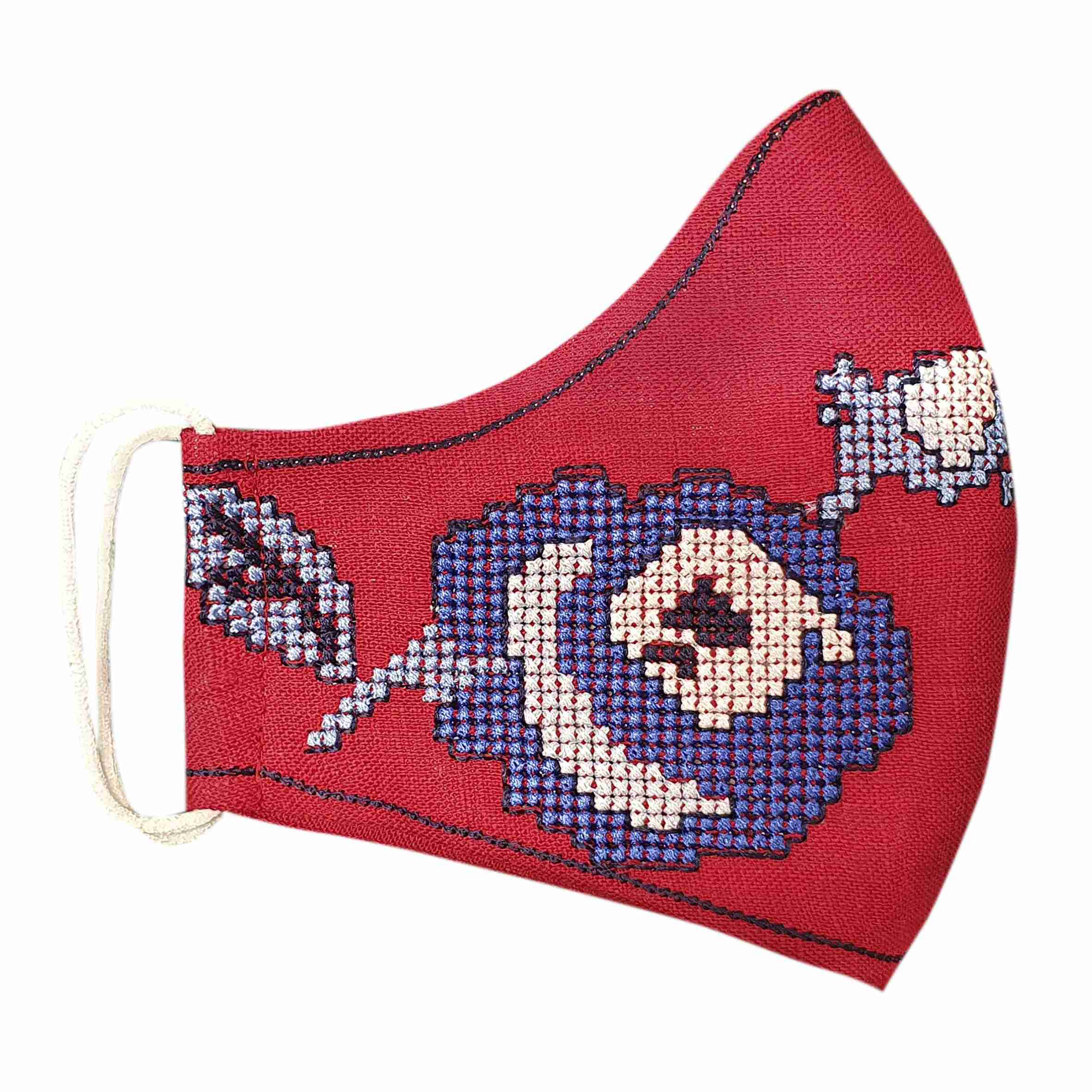 linen masks with embroidery