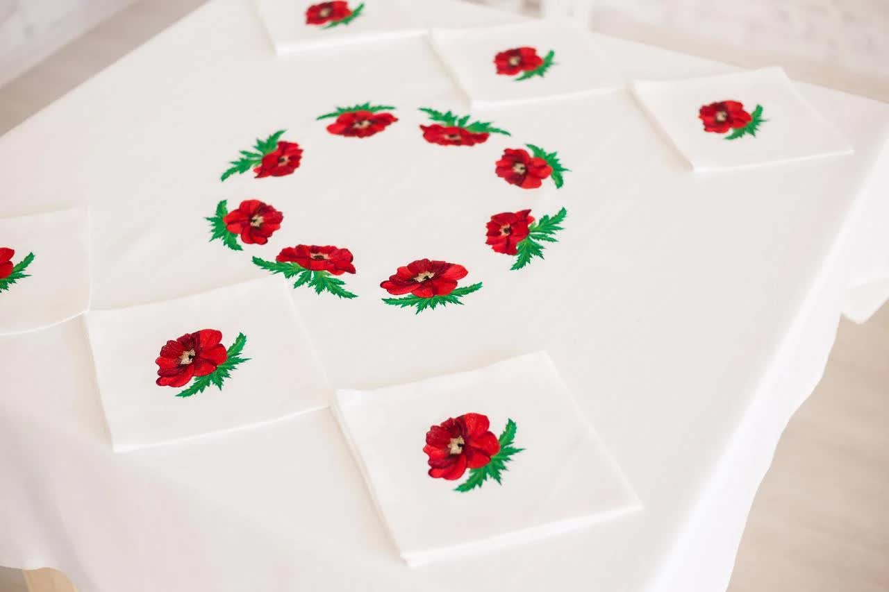 linen tablecloth with embroidery