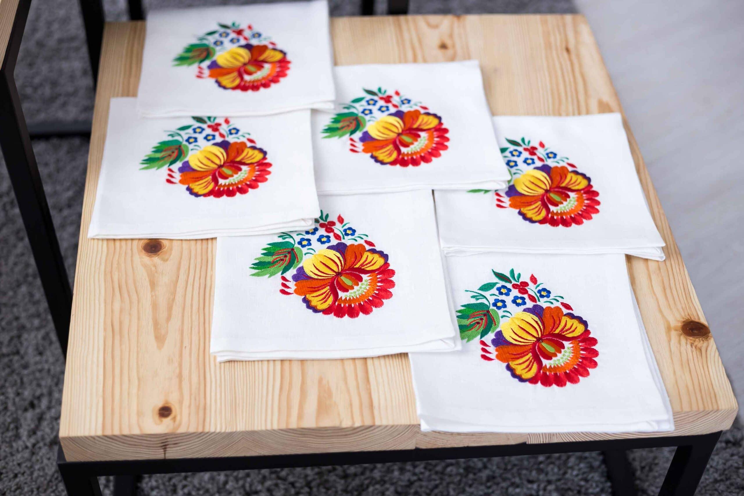 embroidered napkin