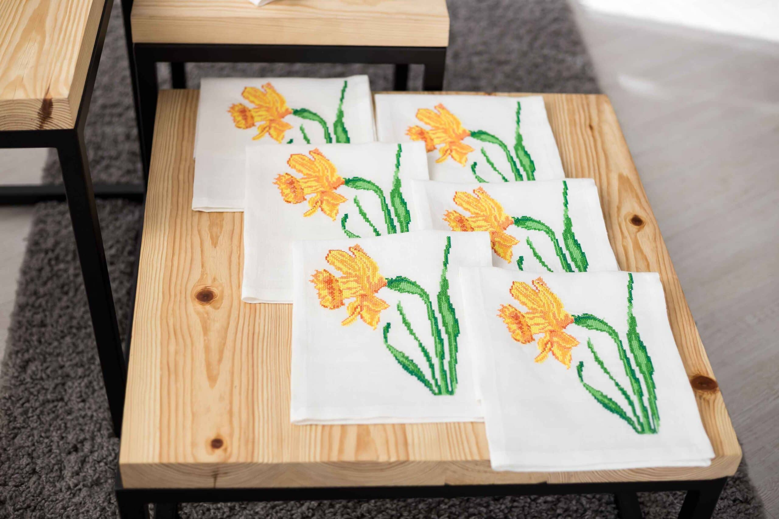 cross-stitched napkins