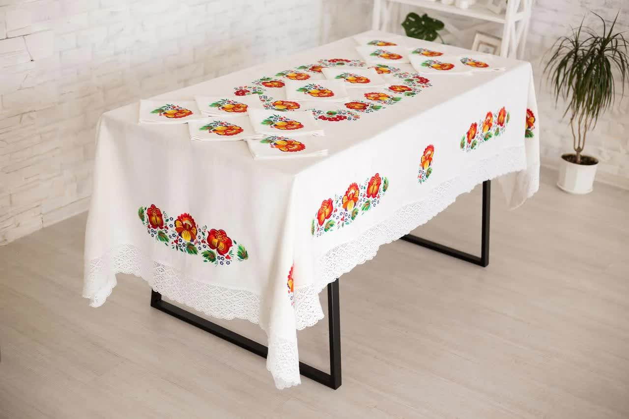 transparent tablecloth on the table
