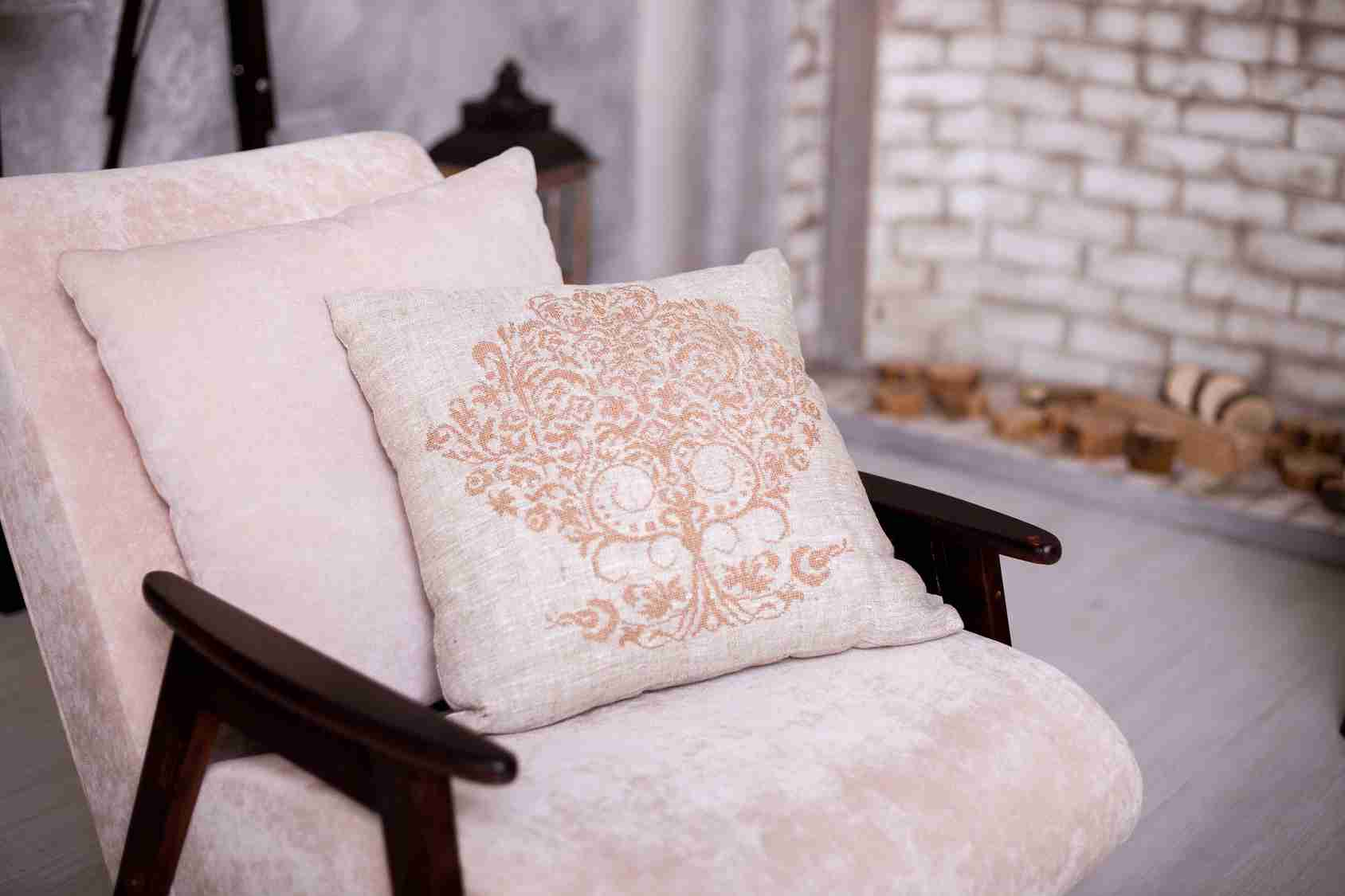 linen pillow with embroidery