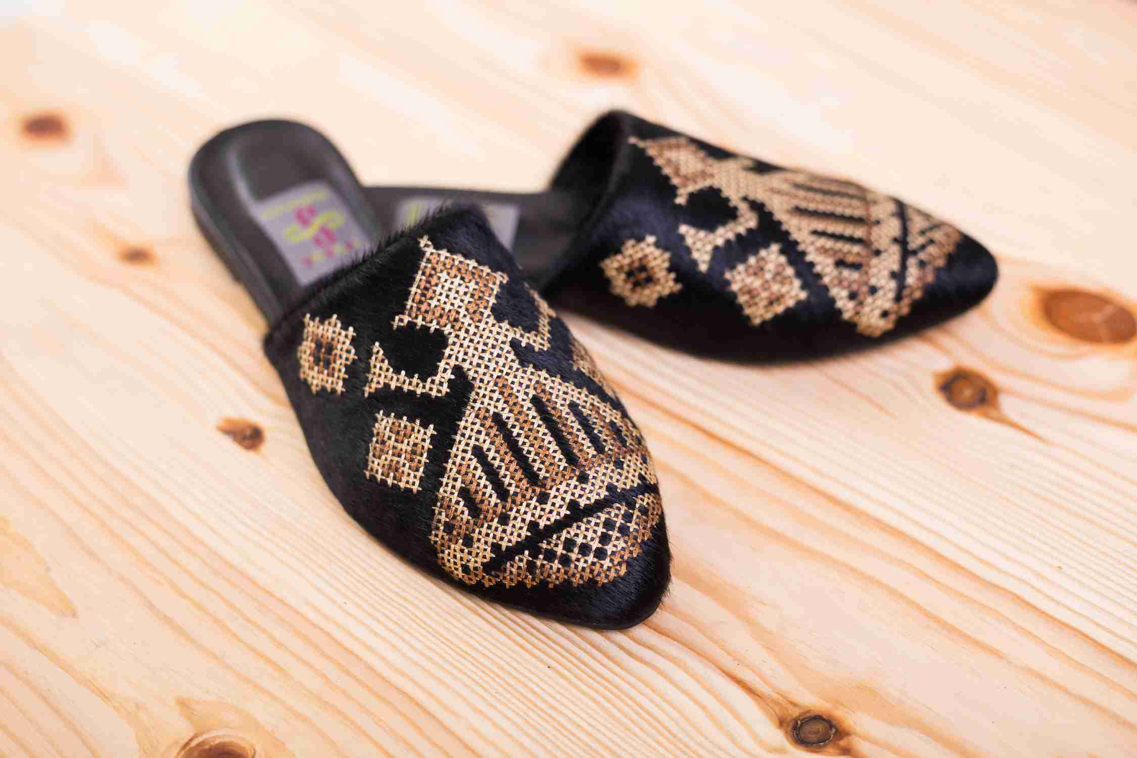 Slippers with embroidery